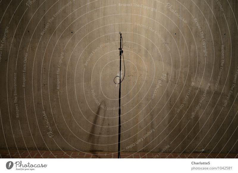Aufnahme Angeln Arbeitsplatz Kirche Studioaufnahme Studiobeleuchtung Aufzeichnen Mikrofon Ständer Kabel Teleskop Beton Backstein Stein hören braun Konstruktion