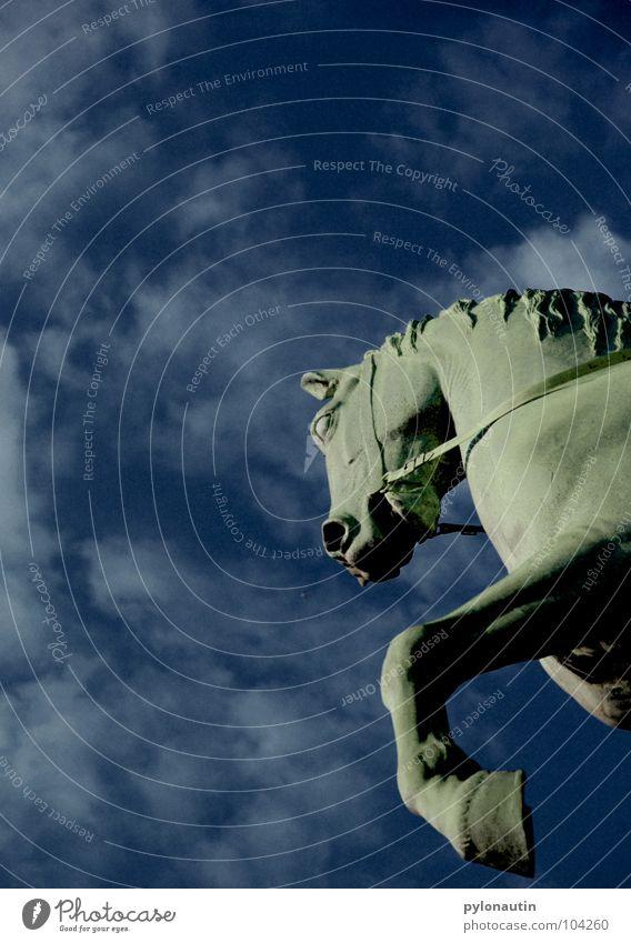 Pegasus Himmel blau Wolken fliegen Pferd Denkmal Statue Wahrzeichen Skulptur Bremen Reitsport Mähne Reiter Huf Nüstern