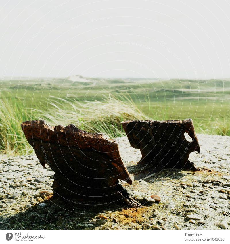 2 x 2 - Nr. 2/2 Ferien & Urlaub & Reisen Umwelt Natur Landschaft Himmel Sommer Pflanze Gras Düne Dänemark Beton Metall alt ästhetisch kaputt natürlich grau grün