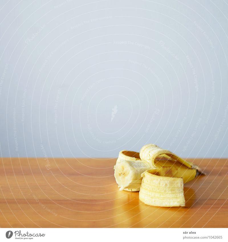 Snack Lebensmittel Frucht Banane Ernährung Essen Landwirtschaft Forstwirtschaft Einzelhandel Tischplatte lecker süß blau gelb Appetit & Hunger Völlerei