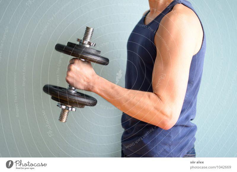 Tanktop Mensch Mann blau Erwachsene Leben Sport Gesundheit Lifestyle maskulin Kraft Fitness sportlich Sport-Training Diät Muskulatur muskulös