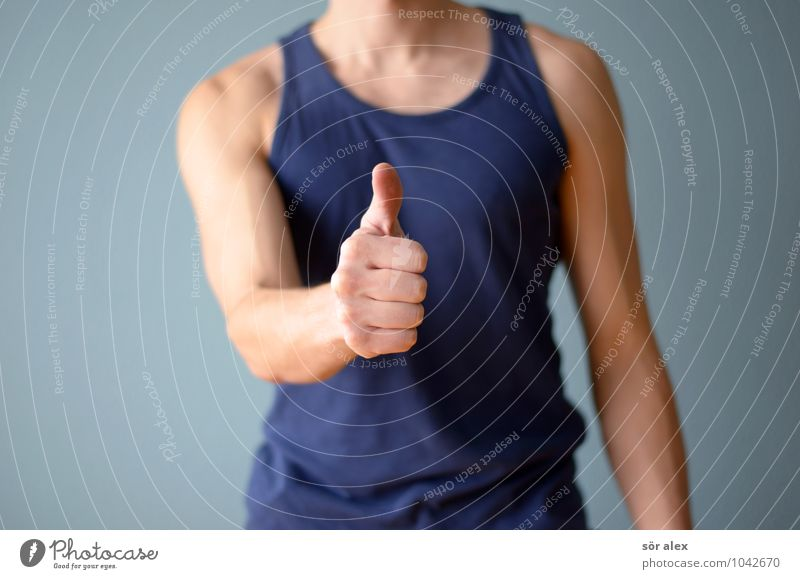 Ich bin klasse... Gesundheit sportlich Sport Fitness Sport-Training Sportler Gesundheitswesen Mensch maskulin Mann Erwachsene Körper Hand Daumen Faust