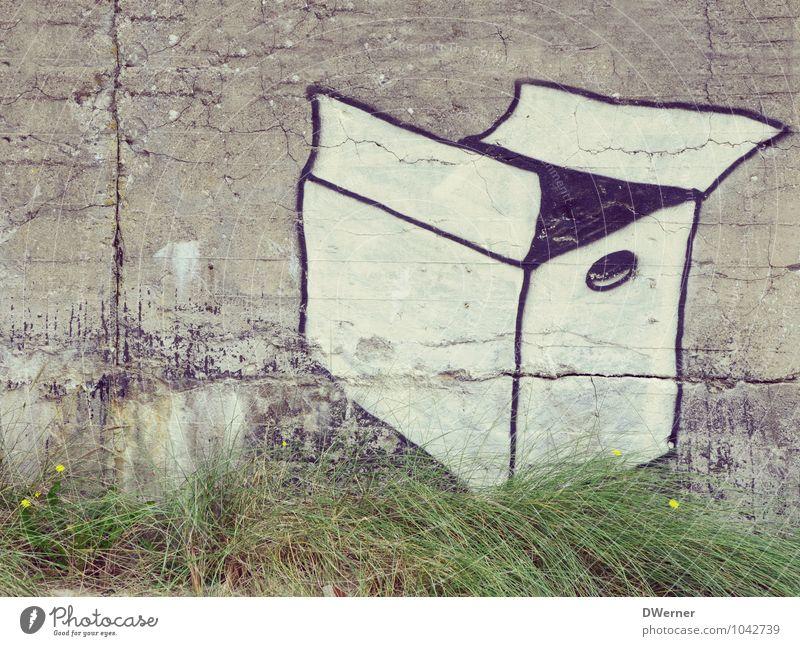 Deutsche Post Stadt Wand Architektur Graffiti Gras Mauer Fassade Häusliches Leben Dekoration & Verzierung Schönes Wetter Zeichen Güterverkehr & Logistik Umzug (Wohnungswechsel) Gemälde Werbung Handel