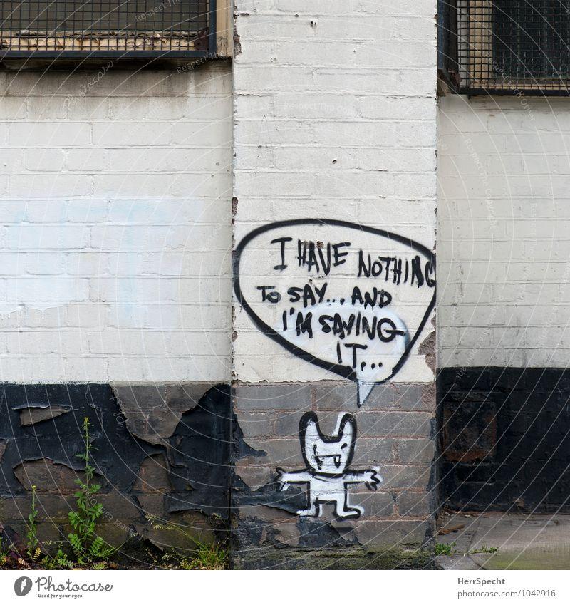 Nichtssagend London Bauwerk Gebäude Mauer Wand Schriftzeichen Graffiti alt trashig trist grau weiß Sprechblase Comicfigur leer Englisch Backsteinwand Konsequenz