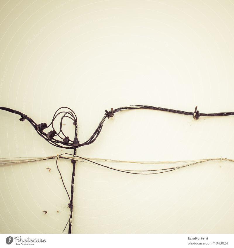 Cable Portugal weiß Haus schwarz Wand Gebäude Mauer Linie Fassade Design Energiewirtschaft Technik & Technologie Telekommunikation kaputt Grafik u. Illustration