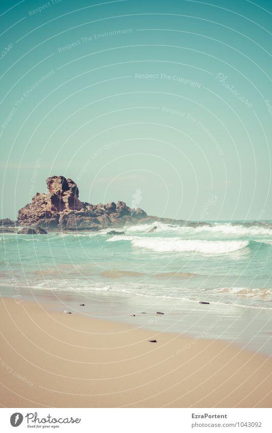 Praia Himmel Natur Ferien & Urlaub & Reisen blau Sommer Sonne Erholung Meer Landschaft ruhig Strand natürlich Schwimmen & Baden braun Felsen Wetter