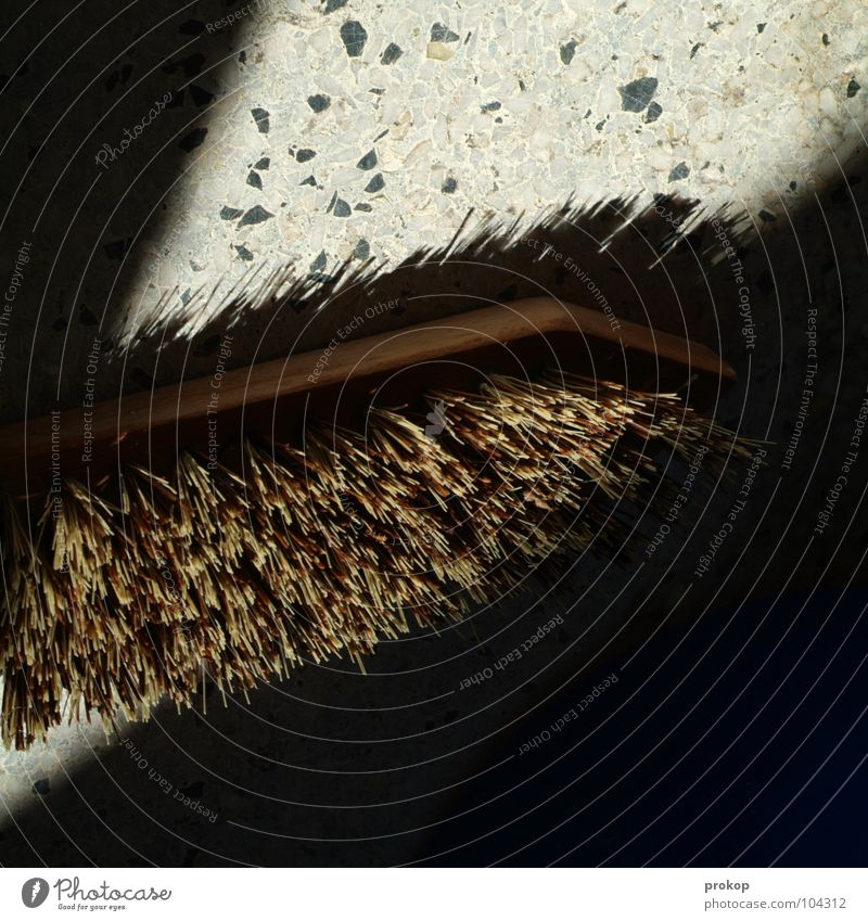 Handarbeit Reinigen Bodenbelag Wischen Sauberkeit Borsten Holz Schlagschatten aufräumen Handwerk Arbeit & Erwerbstätigkeit Haushalt Küche Sozialer Dienst Kraft