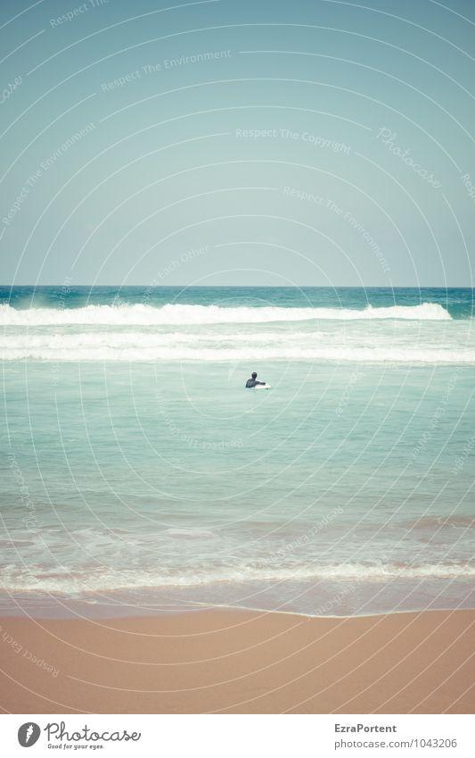 Element Mensch Himmel Natur Ferien & Urlaub & Reisen Mann blau Wasser Sommer Meer Landschaft ruhig Strand Ferne Erwachsene Leben Sport
