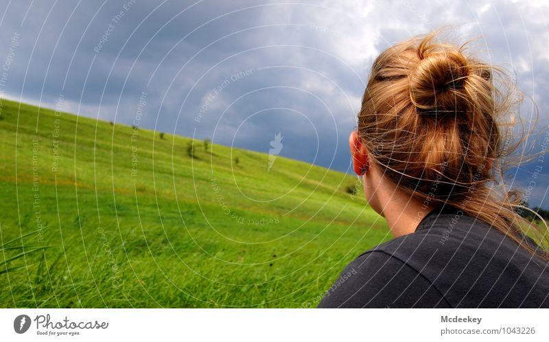 Zukunftsblick Mensch Himmel Natur Jugendliche blau grün Sommer Junge Frau Landschaft Wolken 18-30 Jahre Erwachsene feminin Gras grau Denken