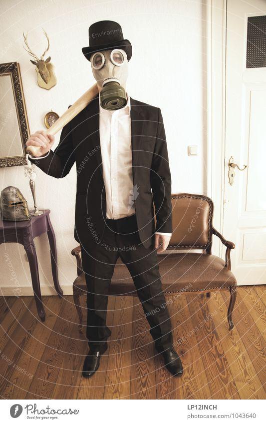 Fein gemacht. X Mensch Jugendliche Mann Junger Mann 18-30 Jahre Erwachsene Innenarchitektur Stil maskulin Angst stehen bedrohlich Veranstaltung Maske Anzug