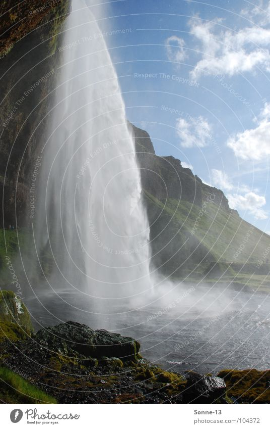 Kraftvoll II Natur Wasser Himmel Berge u. Gebirge Landschaft Kraft Island Wasserfall