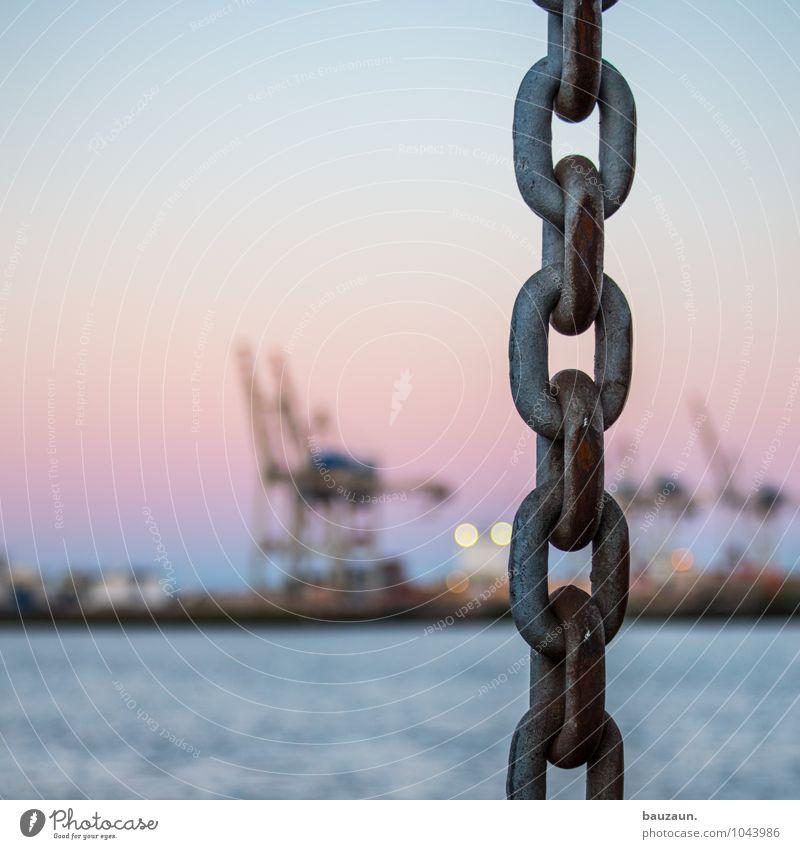  . Arbeitsplatz Wirtschaft Industrie Wasser Sonne Sonnenaufgang Sonnenuntergang Nordsee Meer Fluss Hafenstadt Industrieanlage Schifffahrt Containerschiff Kette