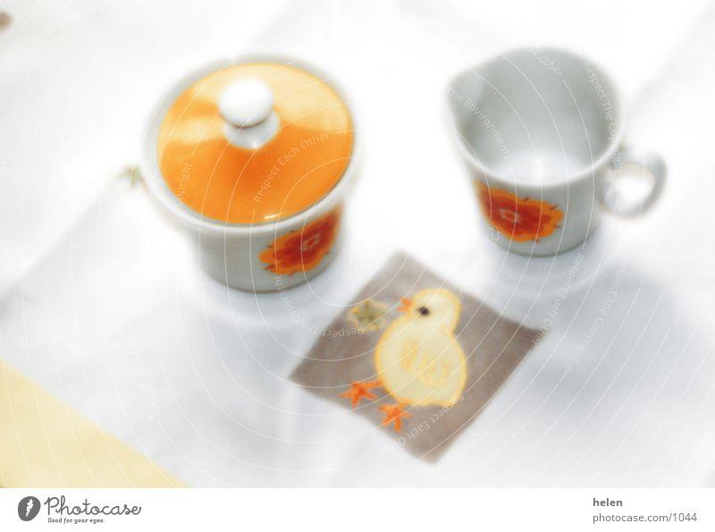 milch+zucker Tisch retro Geschirr Milch Zucker Kannen Küken Kaffeetrinken Zuckerdose