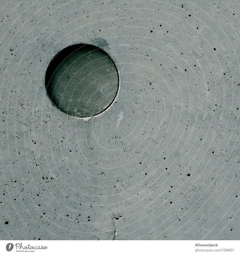 Das Runde und das Eckige schön kalt Wand grau Beton Kreis modern rund einfach Quadrat Geometrie Glätte links perfekt eckig minimalistisch