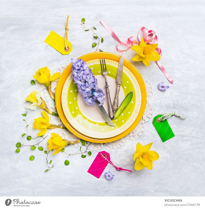 Teller mit Frühlingsblumen Dekoration Blume gelb Innenarchitektur Stil Lifestyle Feste & Feiern rosa Wohnung Design Freizeit & Hobby Dekoration & Verzierung