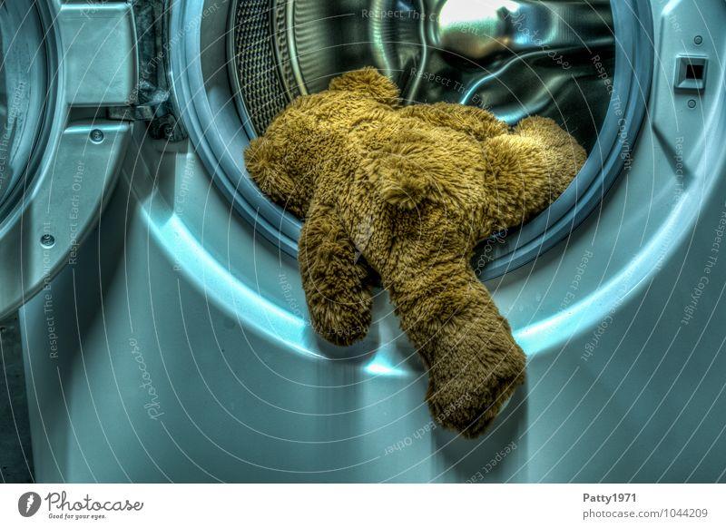 Der letzte Waschgang Teddybär Stofftiere Waschmaschine Wäschetrommel hängen kuschlig Traurigkeit Verzweiflung HDR Klettern einsteigen Wäsche waschen Selbstmord