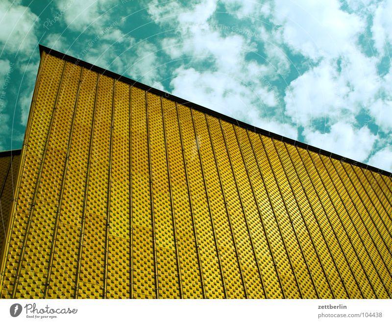 Philharmonie 4 Himmel Sommer Wolken Berlin Wand Architektur Fassade Treppe modern Kultur Show Konzert Eingang Swing Berliner Philharmonie Kulturforum Berlin
