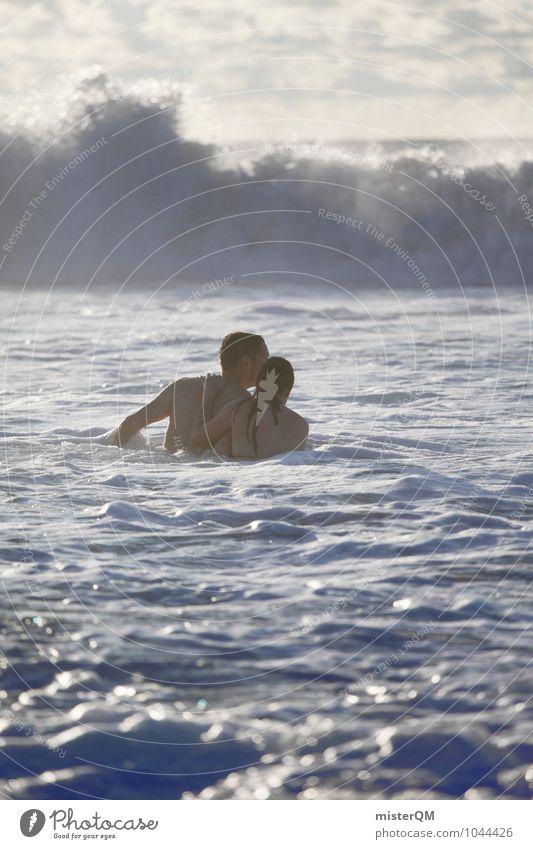 In Conjunction. Frau Natur Ferien & Urlaub & Reisen Mann Wasser Meer Liebe Spielen Schwimmen & Baden Paar Zusammensein Wellen paarweise Abenteuer Urelemente festhalten