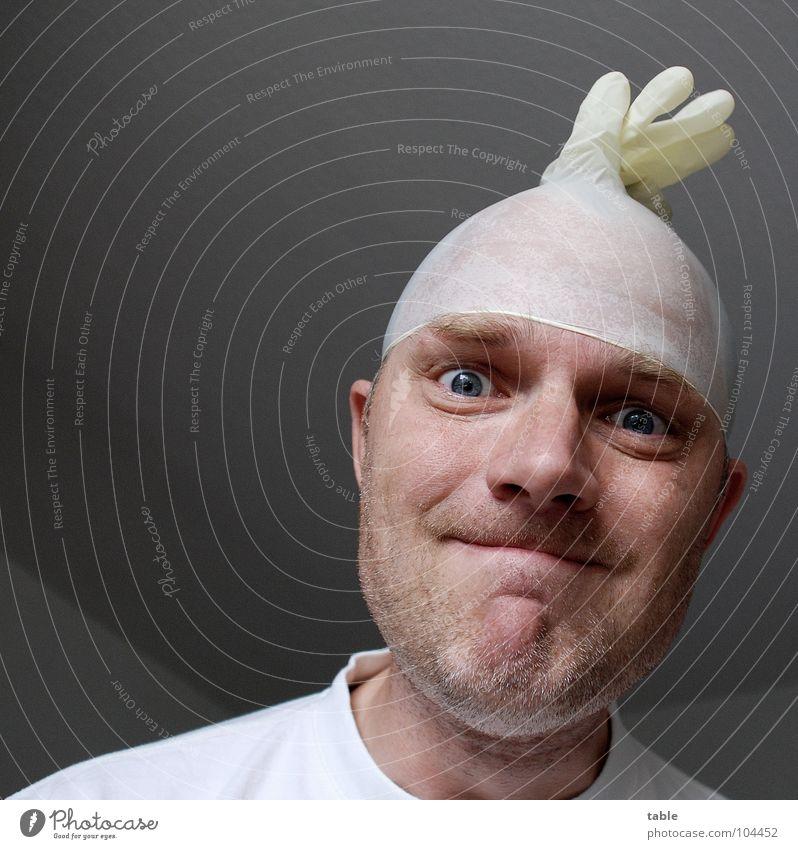 /follow the white rabbit/ Psychiatrie unrasiert T-Shirt weiß Arzt Pfleger Patient verrückt Sozialer Dienst Mann Gummihandschuh Bartstoppel Auge Blick mad clinic