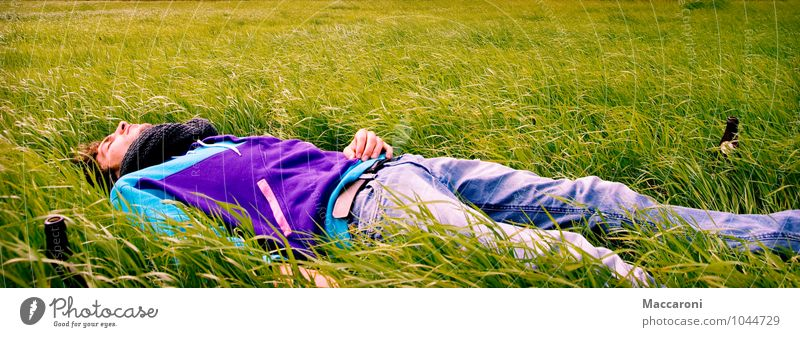 Tiefenentspannt Mensch Natur Jugendliche Erholung Junger Mann Landschaft ruhig 18-30 Jahre Erwachsene Frühling Wiese Gesundheit Freiheit liegen maskulin träumen