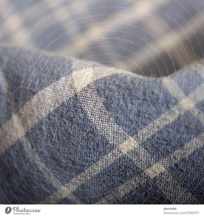 musterung Natur gut natürlich Häusliches Leben Bettwäsche Bettdecke kariert blau-weiß gemütlich weich Erholung Schlafzimmer schlafen Baumwolle Stoff blau-grau