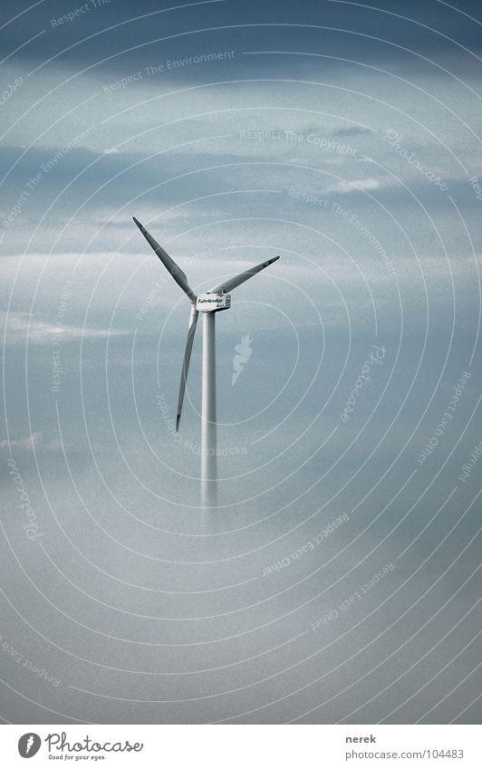 Neue Energien über den Wolken Windkraftanlage Zukunft Umweltschutz ruhig Sturm Nebel Luft Energiesparer Industrie Moral Elektrisches Gerät Technik & Technologie