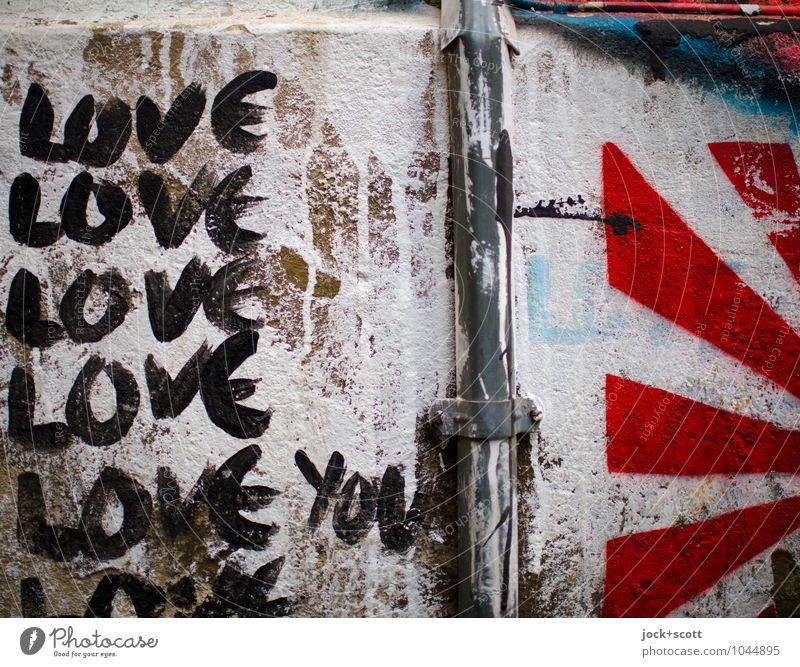 Love Love Love Love Love you Farbe weiß rot schwarz Wand Leben Liebe Mauer Glück Ordnung Kreativität Hinweisschild Vergänglichkeit Idee Streifen Coolness