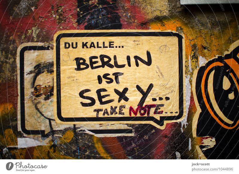 Bernd & Kalle Erotik Wand Graffiti sprechen Stil Mauer Berlin dreckig Zufriedenheit Kommunizieren Papier fest trendy Meinung Wort positiv