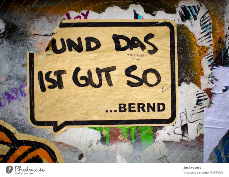 Kalle & Bernd Wand Graffiti sprechen Stil Mauer Berlin Zufriedenheit dreckig Kreativität Kommunizieren Idee Papier Freundlichkeit Hoffnung Wunsch Gelassenheit