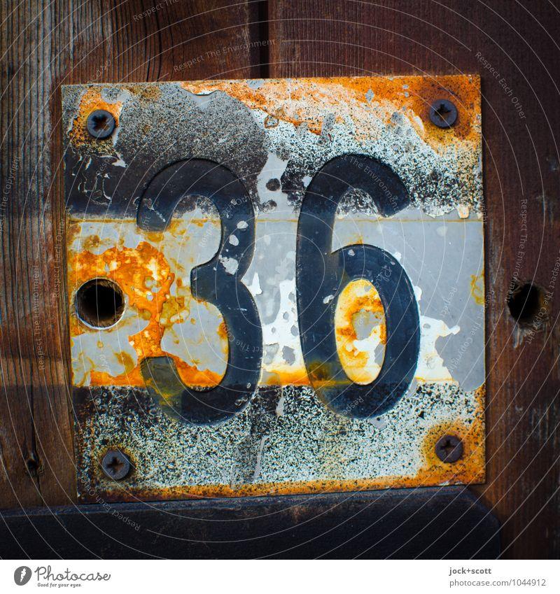 36 sechs mal sechs Typographie Lack Holz Metall Rost Schilder & Markierungen Quadrat alt retro braun Verfall Vergänglichkeit Wandel & Veränderung verwittert