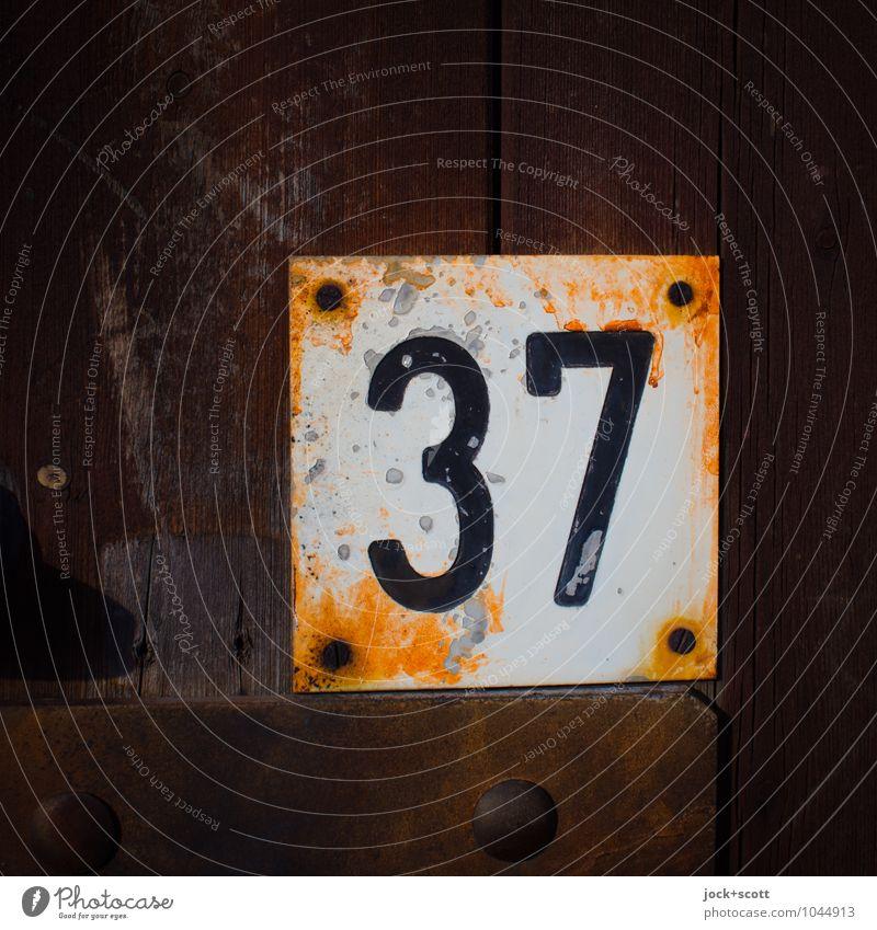 37 sechs mal sechs plus eins Typographie Holz Metall Rost Ziffern & Zahlen Schilder & Markierungen Quadrat alt dreckig fest retro braun authentisch sparsam