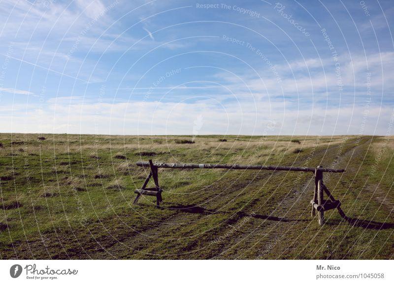 bis hierhin und nicht weiter Ferien & Urlaub & Reisen Ausflug Abenteuer Freiheit Umwelt Natur Landschaft Himmel Wolken Klima Schönes Wetter Pflanze Gras Feld
