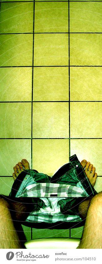 Sitzung blau ruhig gelb Denken Beine Fuß Zeit Erfolg retro Bildung Jeanshose Kot Konzentration Fliesen u. Kacheln Toilette Hose