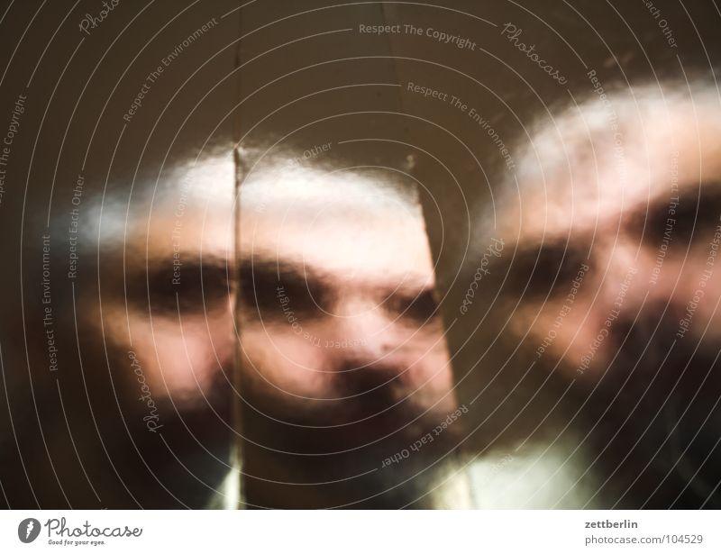 Lomo Live Porträt Selbstportrait Platzhalter Ersatzflüssigkeit glänzend silber Folie Unschärfe unklar schemenhaft Geister u. Gespenster Zombie Angst Panik Mann