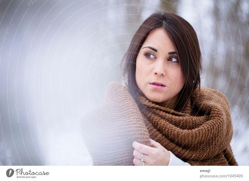 letzten Winter feminin Junge Frau Jugendliche Gesicht 1 Mensch 18-30 Jahre Erwachsene schön einzigartig kalt Farbfoto Außenaufnahme Textfreiraum links Tag