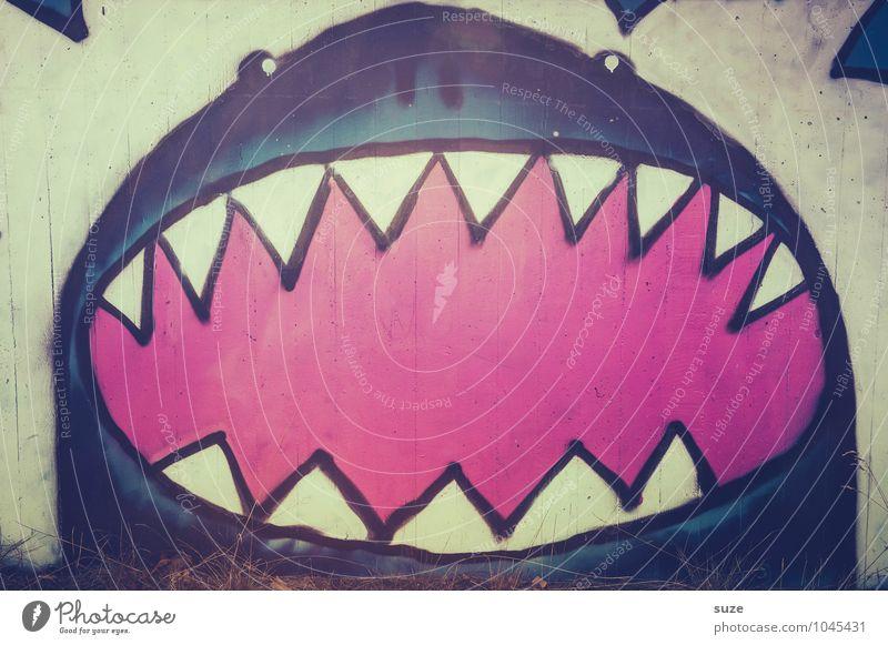 Augen zusammenbeißen, Zähne zu und durch! blau Tier Wand Graffiti lustig Fassade Business wild Angst verrückt Kreativität gefährlich bedrohlich Fisch Zähne Gebiss