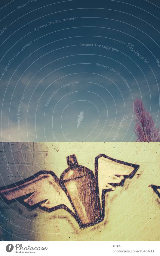 Die Gedanken sind frei Himmel Stadt blau Umwelt Wand Graffiti Stil Mauer Freiheit fliegen Lifestyle Kunst Design Luft Kreativität Flügel