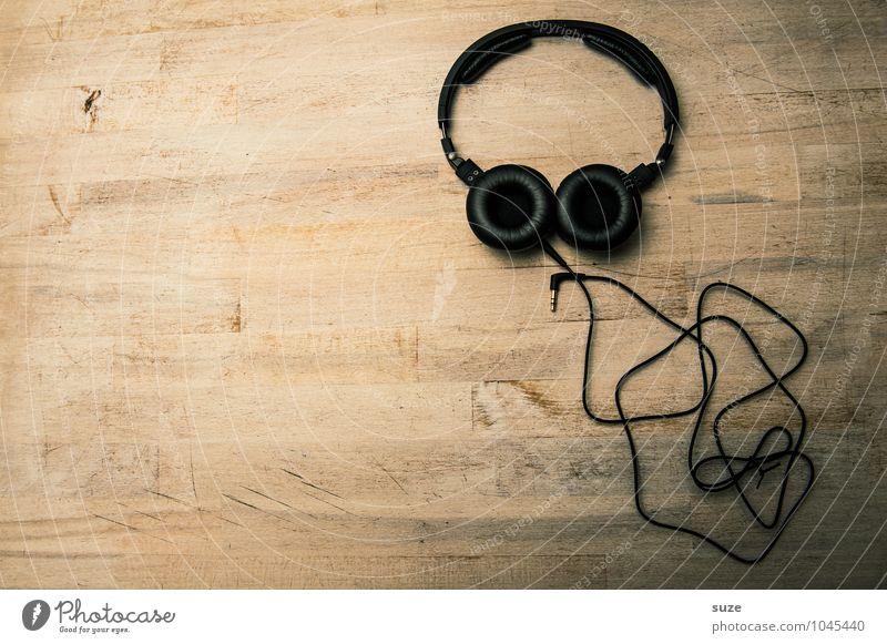 Unbekannte Lebensform Lifestyle Stil Design Gesicht Freizeit & Hobby Musik Club Disco Kabel Unterhaltungselektronik Musik hören Medien Holz einfach lustig
