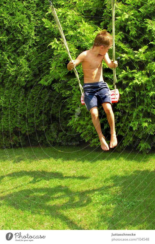Ich fliege Kind Sommer Freude Leben Spielen Junge Freiheit Glück Garten fliegen hoch frei Fröhlichkeit Spielzeug Lebensfreude Schaukel