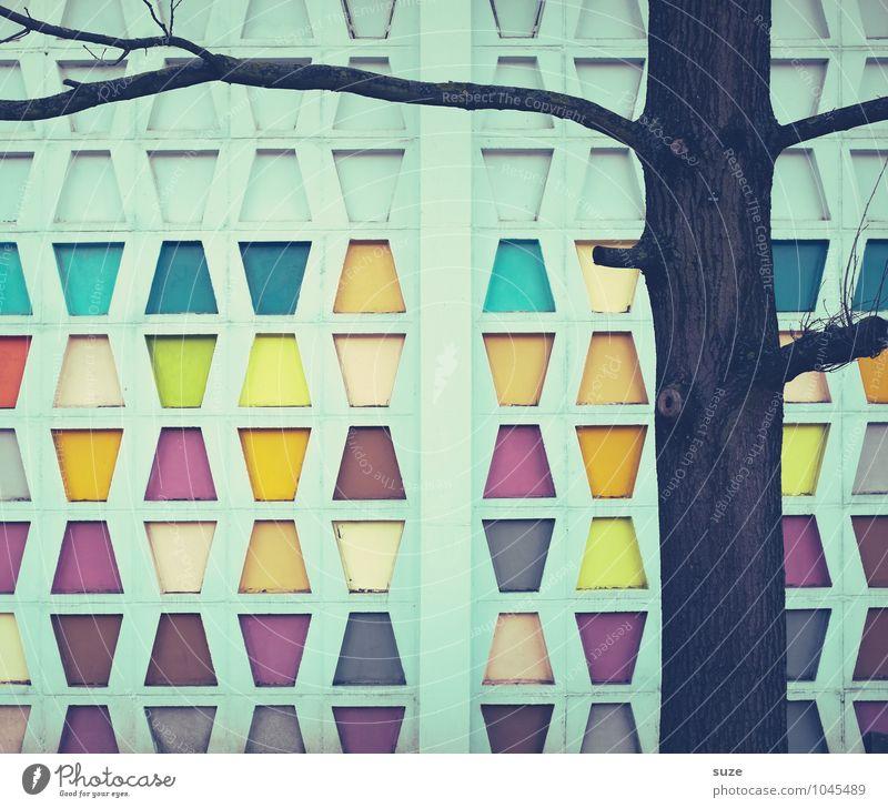 Freizeitspaß | 4 gewinnt Stil Design Dekoration & Verzierung Kunst Baum Gebäude Architektur Mauer Wand Fassade Zeichen alt eckig einfach retro Farbe Kreativität
