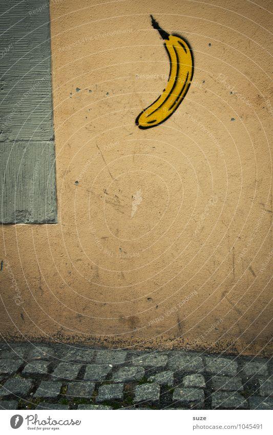 Affengeil Frucht Kunst Kultur Mauer Wand Zeichen Graffiti dreckig klein lustig trist trocken Stadt Idee Kreativität Banane affengeil Bild Bürgersteig Fußweg