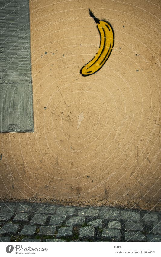 Affengeil Stadt Wand Graffiti lustig Mauer klein Kunst dreckig Frucht trist Kreativität Idee Kultur Zeichen Grafik u. Illustration Fußweg