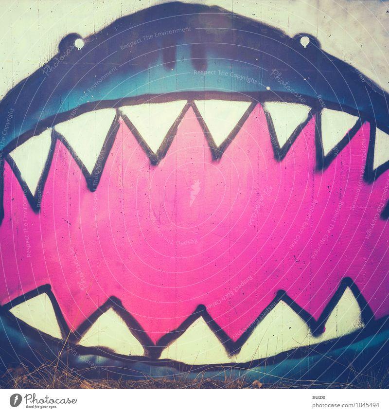 Hai! blau Tier Wand Graffiti lustig Mauer rosa Fassade Business Angst wild verrückt gefährlich Kreativität bedrohlich Fisch