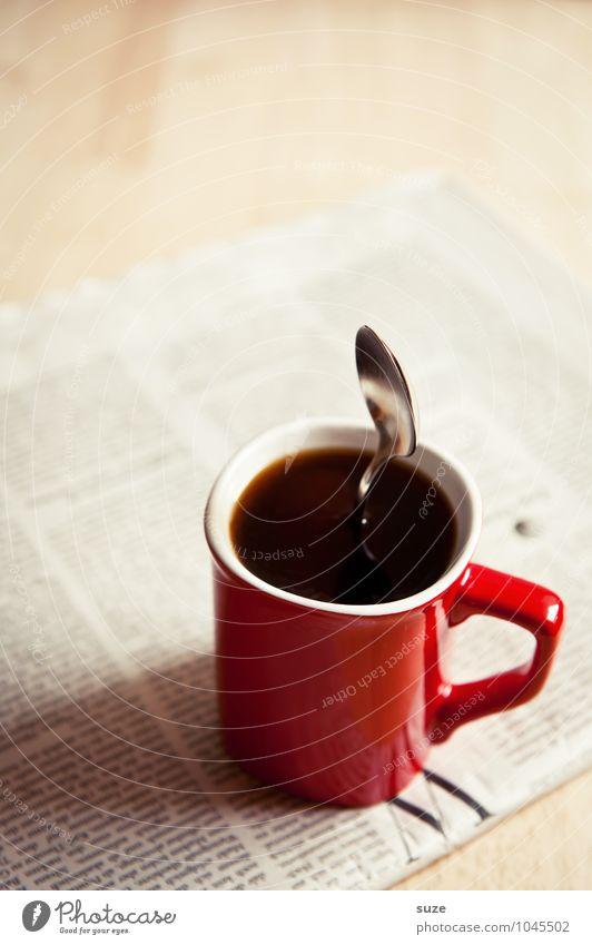Moinsen ... rot schwarz lustig Arbeit & Erwerbstätigkeit Business Büro stehen genießen Kreativität Idee Kaffee Gastronomie stark Information Stress Zeitung