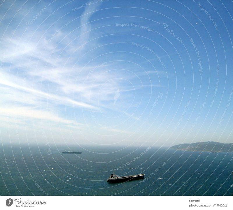 Strasse von Gibraltar Himmel Natur blau Wasser Ferien & Urlaub & Reisen Sommer Meer Wolken ruhig Ferne Freiheit Horizont Wasserfahrzeug Wind Verkehr nass