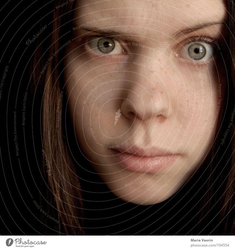 """""""Wie? Wat? Hä????"""" Frau Jugendliche Gesicht Auge Denken Mund Nase Trauer Verzweiflung skeptisch Augenbraue erstaunt Selbstportrait Zweifel Misstrauen ratlos"""