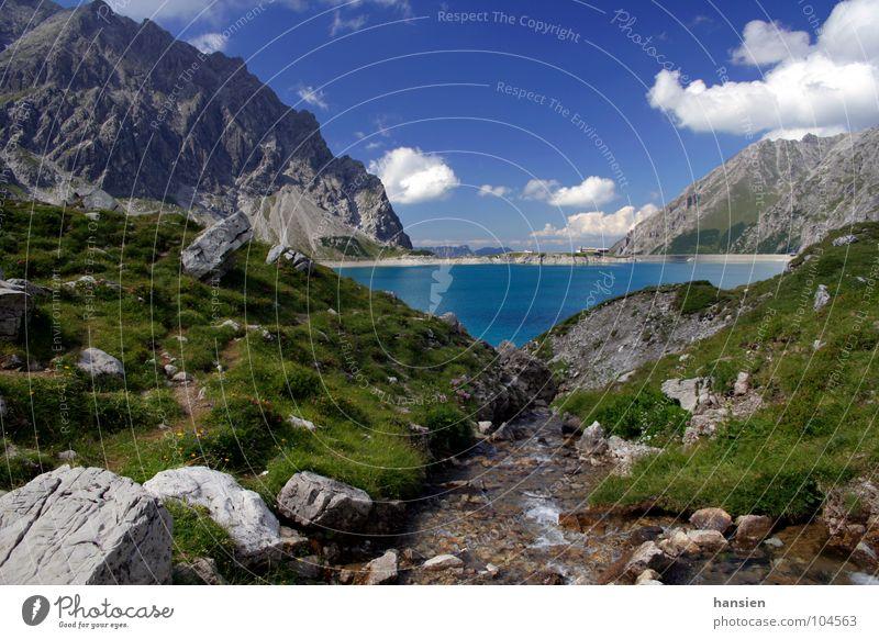 Lünersee Himmel Wolken Wiese Berge u. Gebirge Stein Staumauer Wildbach