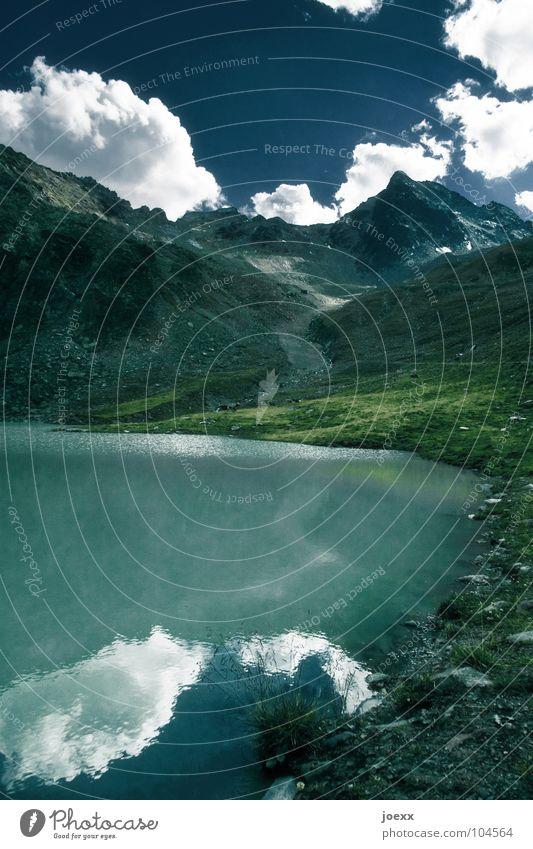 Berge blaugrün Himmel Natur Wasser Wiese Berge u. Gebirge Gras Stein See Idylle Seeufer Weide Gletscher Gebirgssee Wasserspiegelung durstig