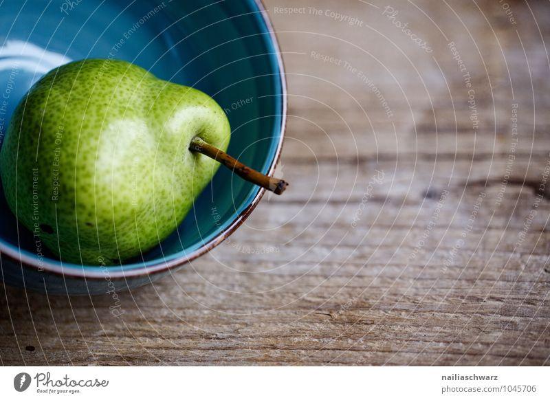 Birne blau grün schön Farbe Leben natürlich Gesundheit Holz Lebensmittel Frucht Glas Ernährung genießen einfach süß Bioprodukte