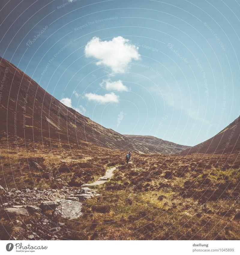 auf wanderschaft. Mensch Himmel Natur Ferien & Urlaub & Reisen Sommer Erholung Landschaft ruhig Wolken Ferne Erwachsene Berge u. Gebirge Wiese feminin